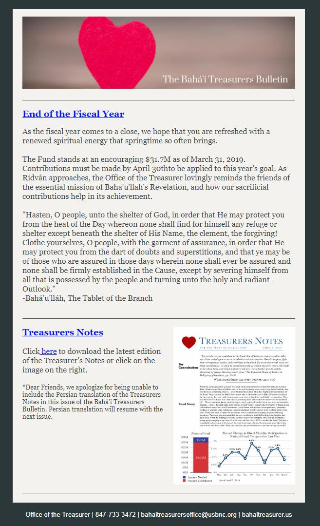 US Treasurer's Report 04.09.19
